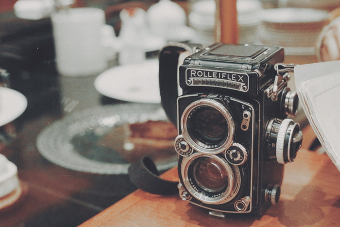 Photo of an antique film camera