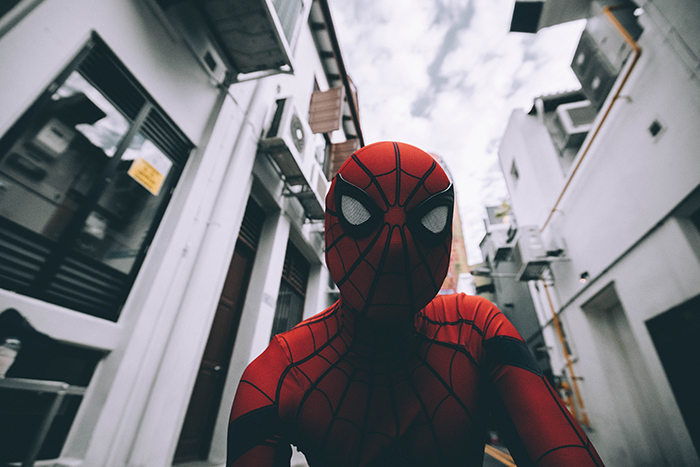 Spider man shot from a low angle