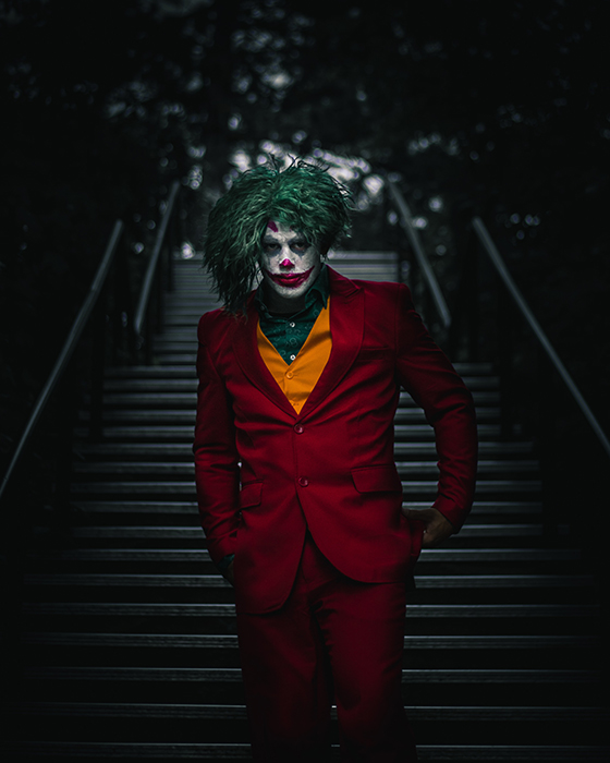 The iconic image from the new Joker film re-created using costume and make up