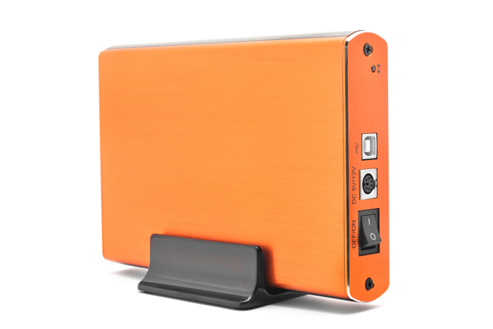 Photo of a portable hard drive in orange