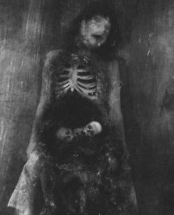 Scary photo of a corpse in black and white