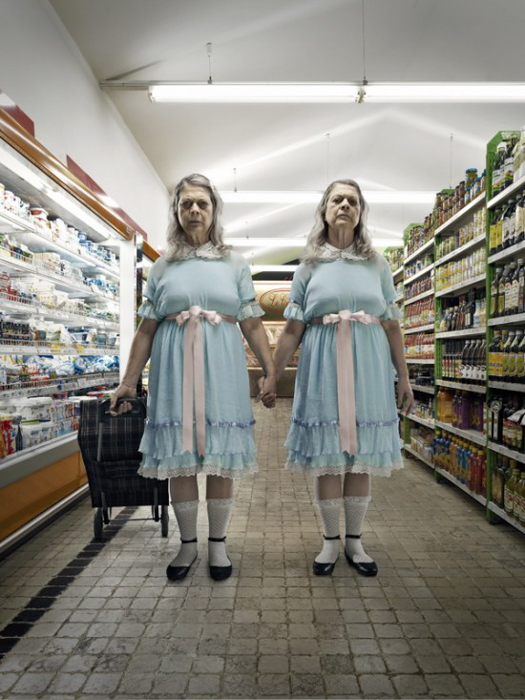 Horror photo of creepy old twin ladies at a supermarket