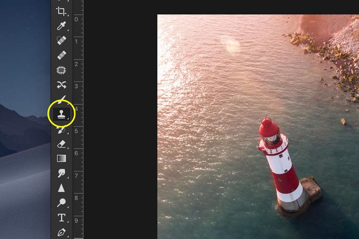 Screenshot of using Adobe Photoshop clone stamp tool