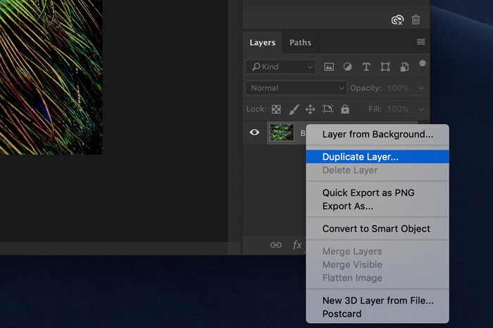 Screenshot of how to mirror an image in Photoshop