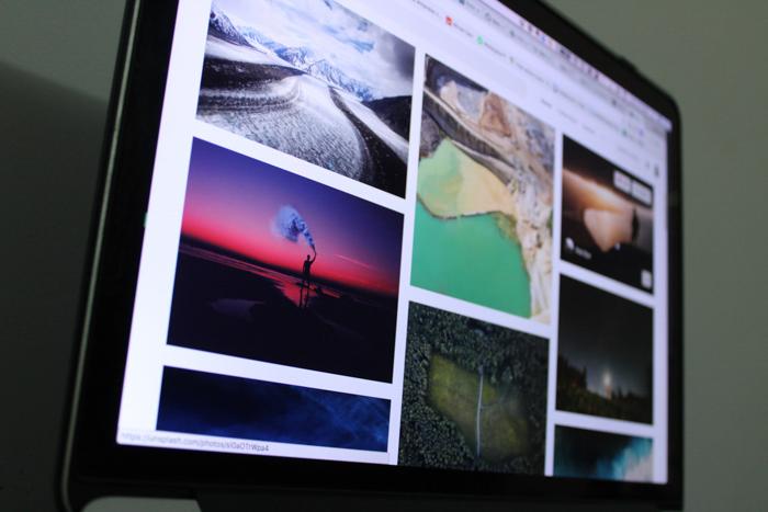 Photographs on a laptop screen