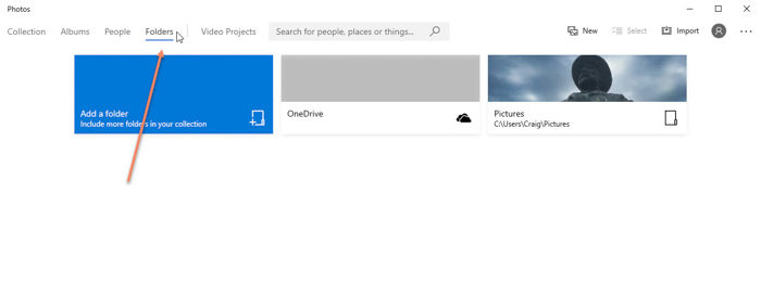 Screenshot of folders tab