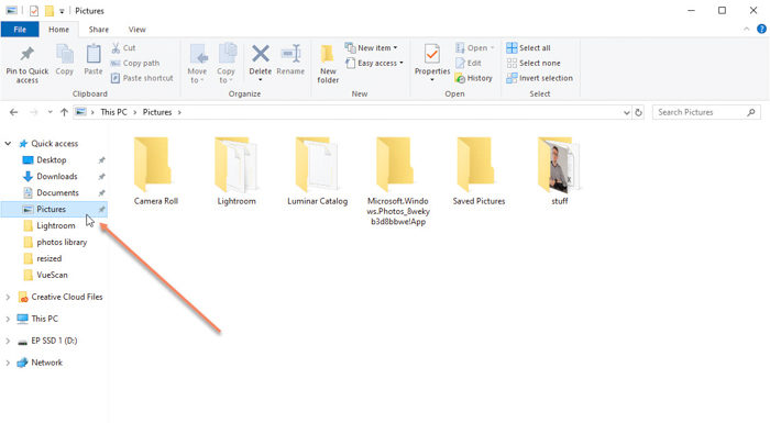 Screenshot showing folders in pictures tab