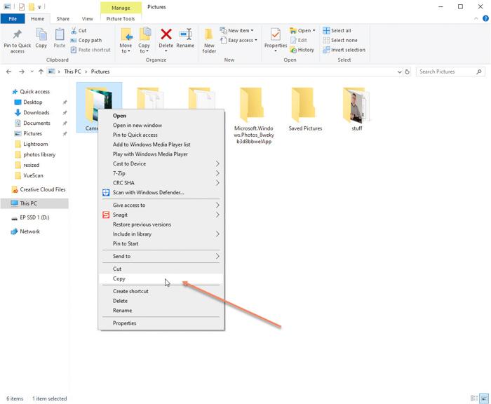 Screenshot of how to copy a folder