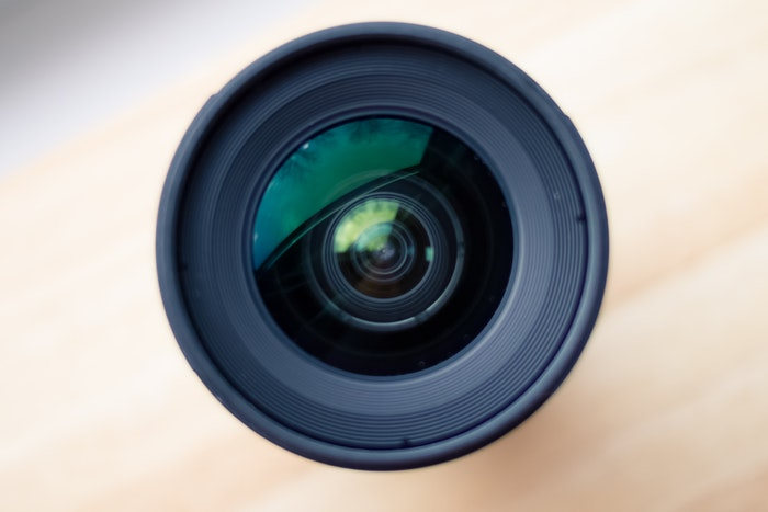 a close up photo of a a camera lens
