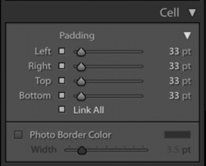 Illustrative photo of padding settings in Lightroom