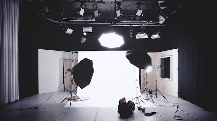 A photography studio with professional lighting