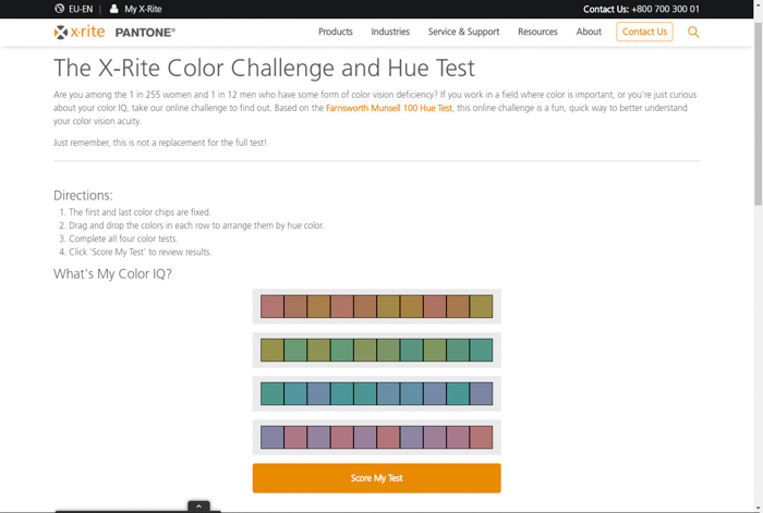 a screenshot of X-rite Color Challenge