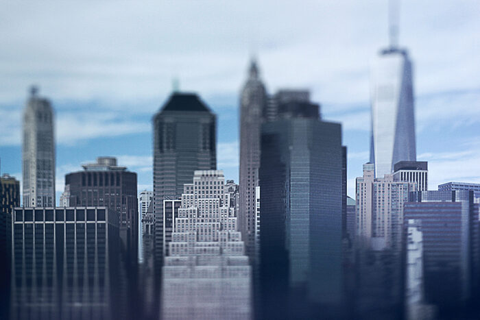 Photo of a cityscape with tilt shift lens
