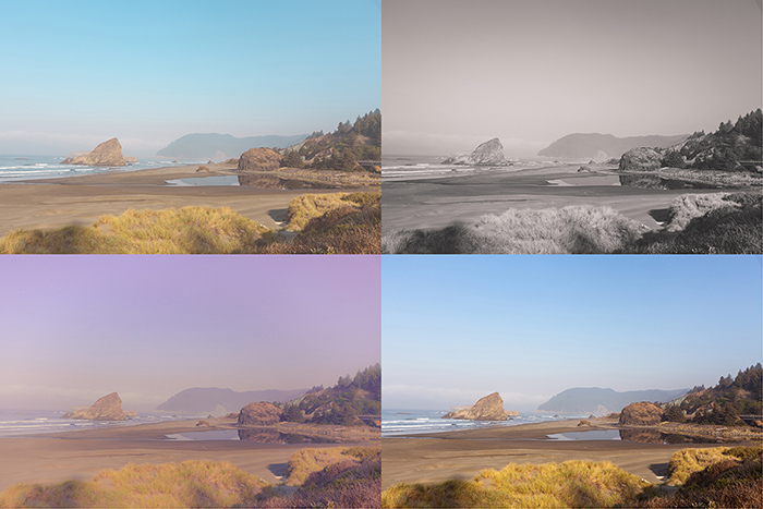 a four photo grid showing a landscape image edited in four different styles