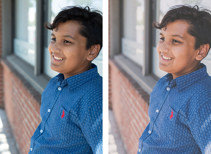 diptych portrait of a boy, the second edited in a  matte photo style