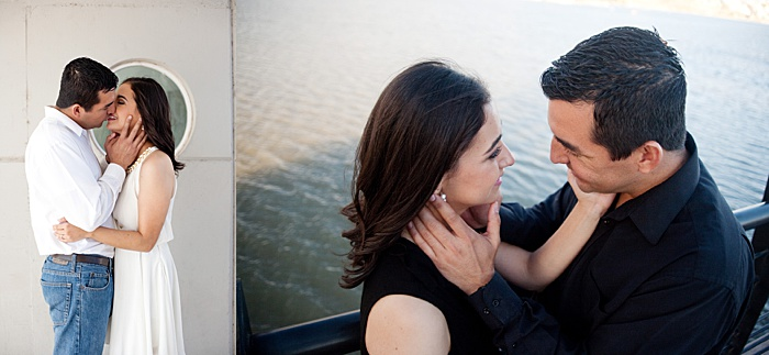 a diptych portrait of a couple trying engagement photo poses on a boat