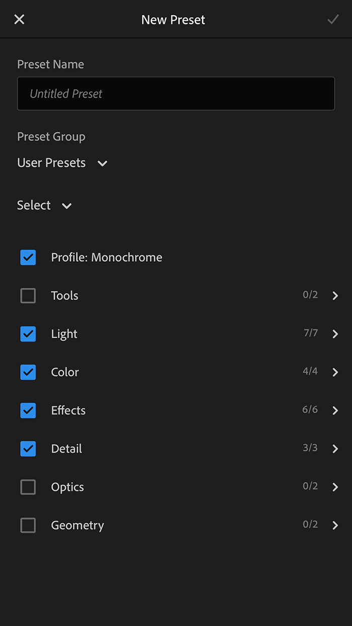 How to name, organise and select settings for new presets