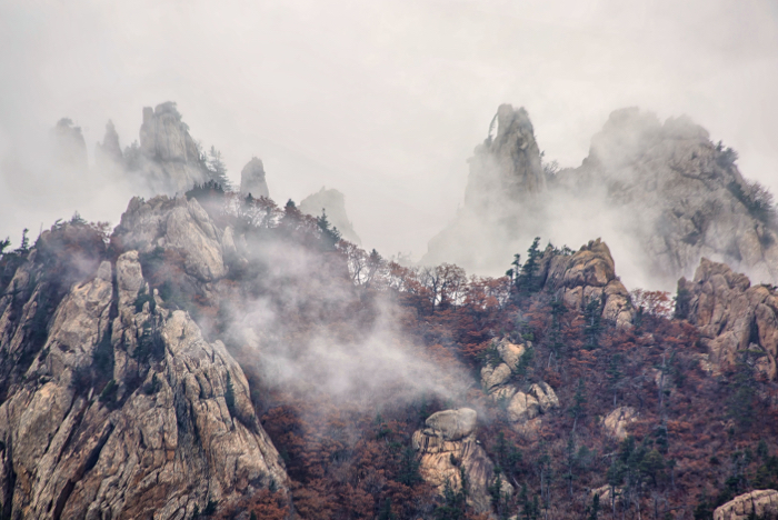 Photo of a mountain range in the fog