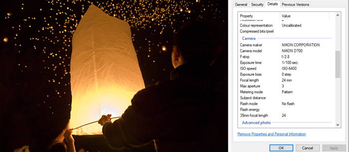 a screenshot of a photo and its exif data