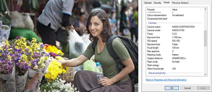 a screenshot of a portrait photo and its exif data