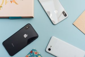 Overhead photo of different iPhones