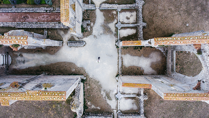 Drone wedding photo among ancient buildings
