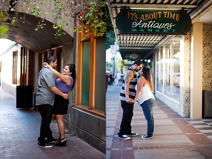 Two examples of tummy to tummy poses for an engagement photo session