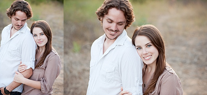 A young couple shot with the arm hold pose , engagement photo poses diptych