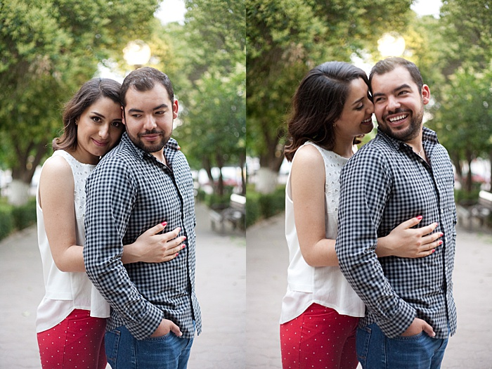 a diptych portrait of a couple trying hug from behind engagement photo poses outdoors