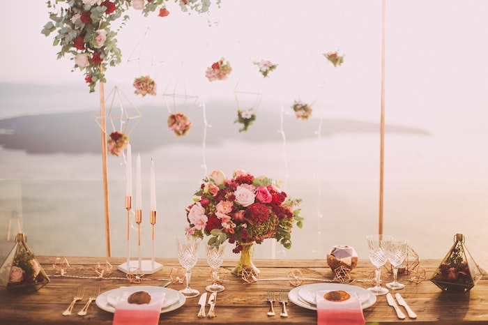 A floral table setting