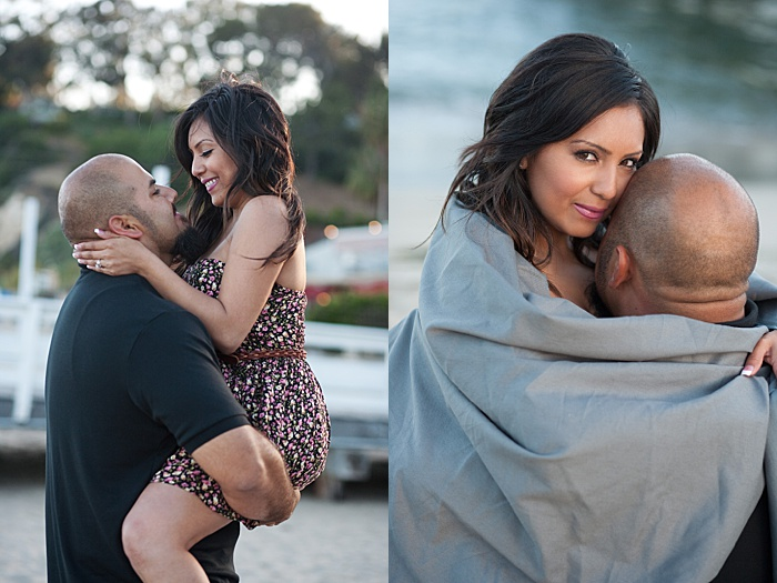 a diptych portrait of a couple trying engagement photo poses outdoors
