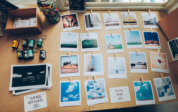 Photo of polaroid pictures on a table