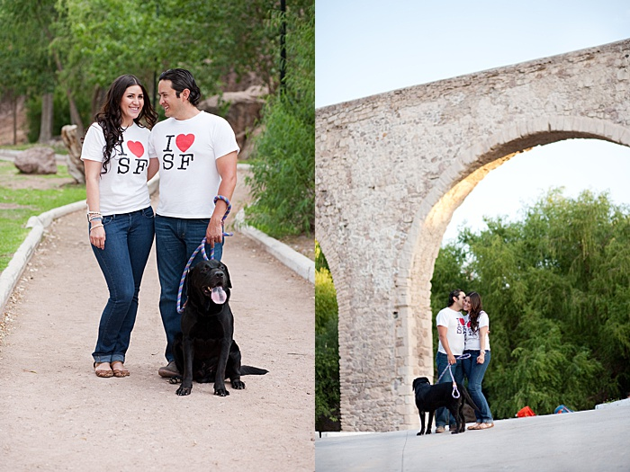 a casual engagement portrait diptych of a couple with dog