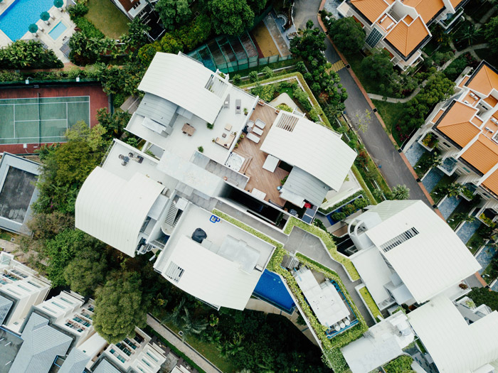 Drone photo of a penthouse apartment
