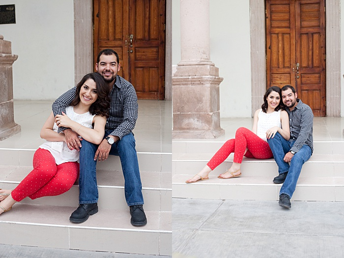 A couple photo where the couple is sitting on some steps