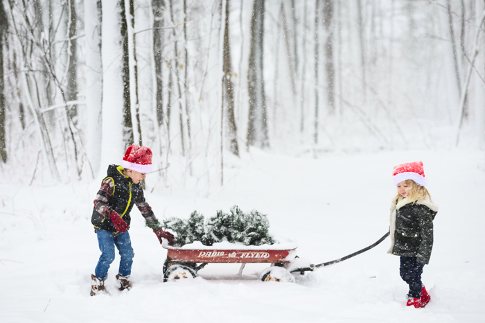 Photo of kids with a sleigh in the snow