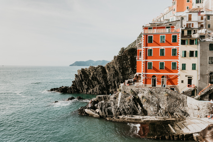 High quality photo of orange houses on the coast