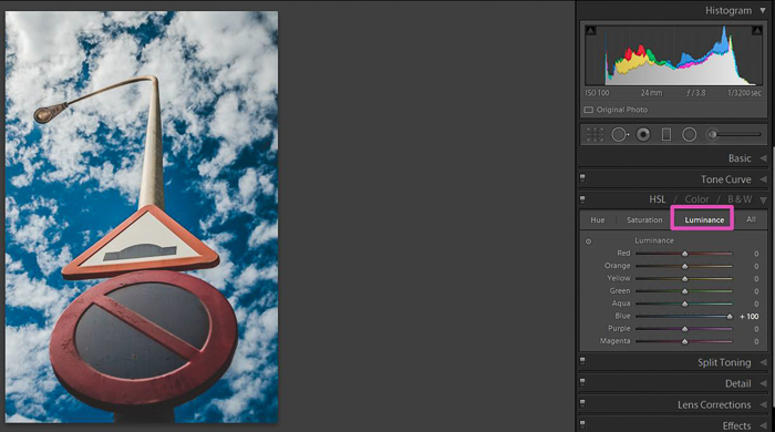 Screenshot of editing a photo in Lightroom