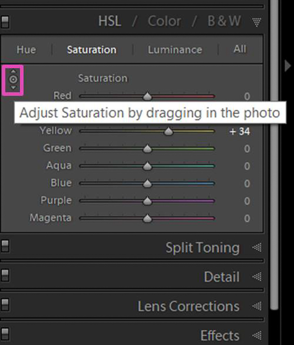 Screenshot of adjusting Saturation in Lightroom