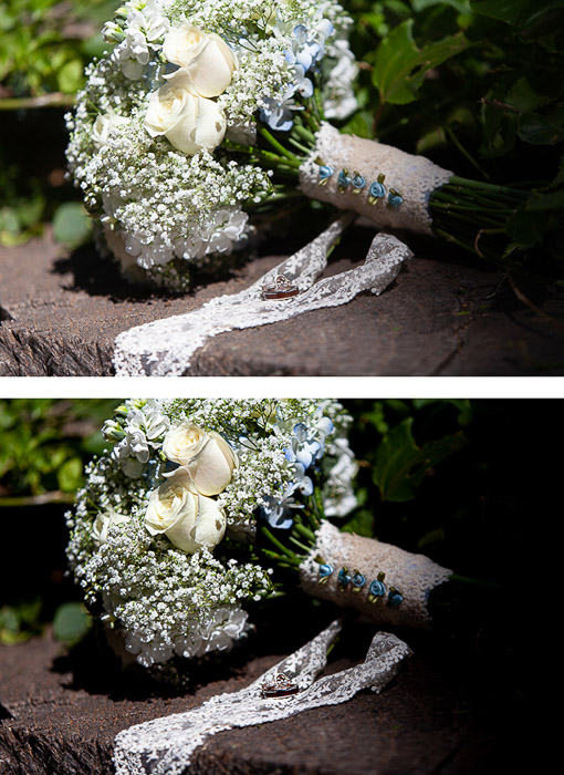 two photos of the same wedding bouquet, the second edited in a dark and moody editing style
