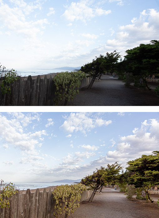 two photos of the same coastal landscape, the second edited in HDR editing style
