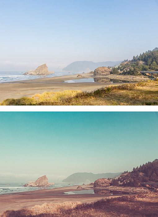 two photos of the same coastal landscape, the second edited in vintage editing style