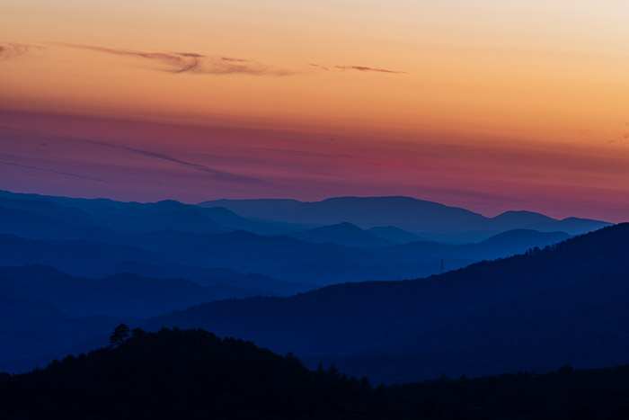 The Smokey Mountains at sunset