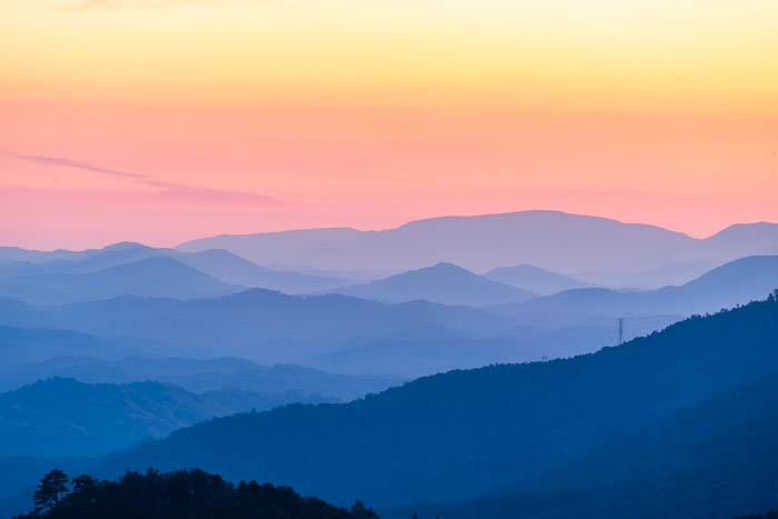 the Smokey Mountains at sunset with shutter speed to 8.0 seconds