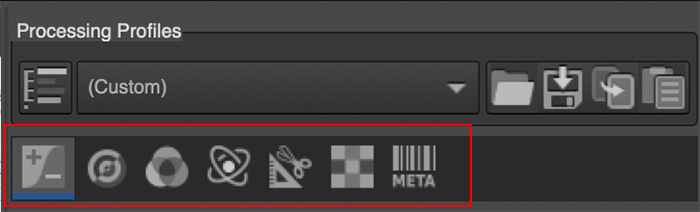 icons within the Editor tab for seven sections: Exposure, Detail, Color, Advanced, Transform, RAW, Metadata.