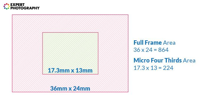 a diagram comparing full frame sensor and micro four thirds sensor