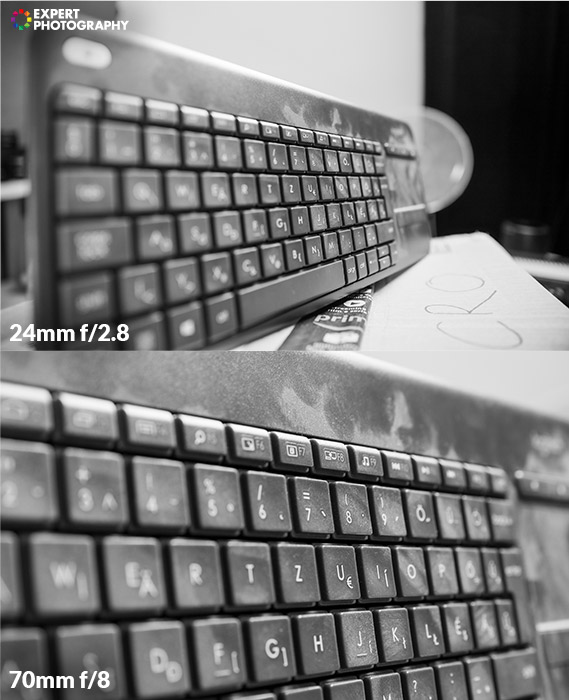 two photos of a computer keyboard taken with different aperture
