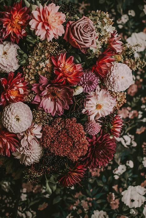 Fotografía aérea de flores en tonos rosados.