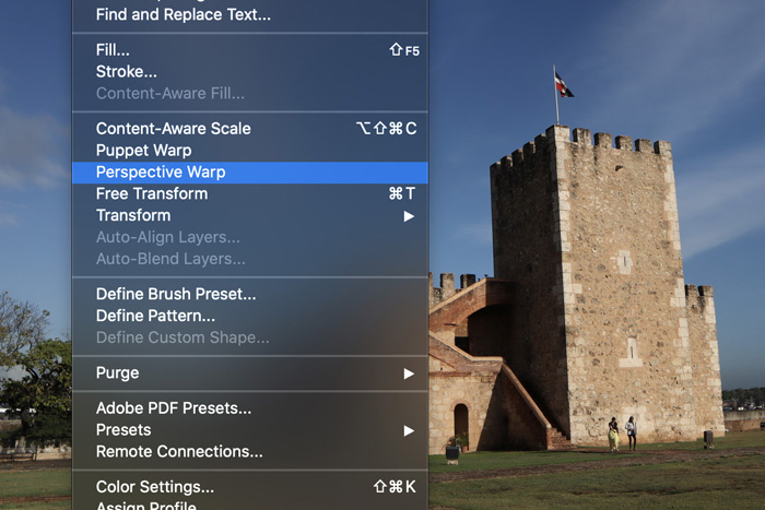 a screenshot of applying the perspective warp grid in photoshop