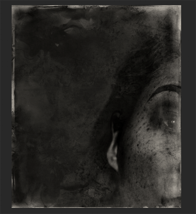 dramatic portrait created with Wet Plate Collodion photoshop effect